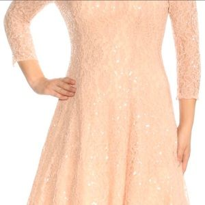 SLNY pink blush lace fit & flare plus size dress
